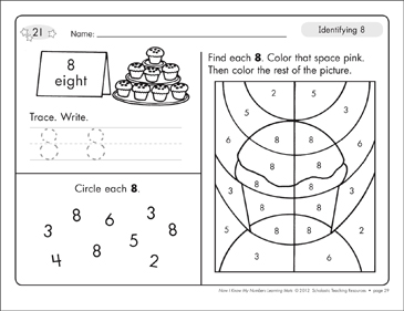 Identifying 8 and Eight/Counting to 8: Number Learning Mats - Printable Worksheet