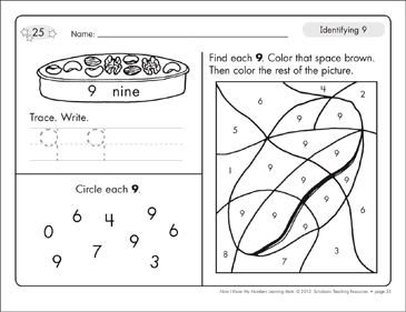 Identifying 9 and Nine/Counting to 9: Number Learning Mats - Printable Worksheet