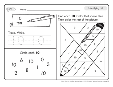 Identifying 10 and Ten/Counting to 10: Number Learning Mats - Printable Worksheet