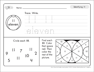 Identifying 11 and Eleven/Counting to 11: Number Learning Mats - Printable Worksheet