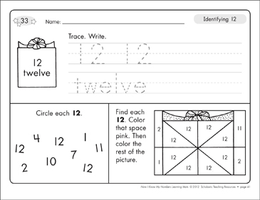 Identifying 12 and Twelve/Counting to 12: Number Learning Mats - Printable Worksheet
