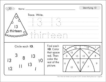 Identifying 13 and Thirteen/Counting to 13: Number Learning Mats - Printable Worksheet