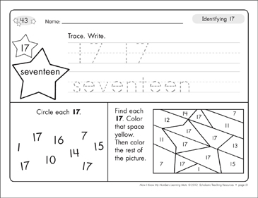 Identifying 17 and Seventeen/Counting to 17: Number Learning Mats - Printable Worksheet
