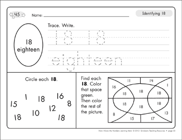 Identifying 18 and Eighteen/Counting to 18: Number Learning Mats - Printable Worksheet