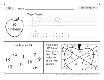Identifying 19 and Nineteen/Counting to 19: Number Learning Mats - Printable Worksheet