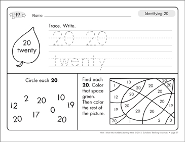 Identifying 20 and Twenty/Counting to 20: Number Learning Mats - Printable Worksheet