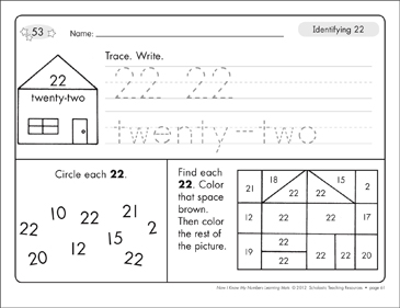 Identifying 22 and Twenty-two/Counting to 22: Number Learning Mats - Printable Worksheet