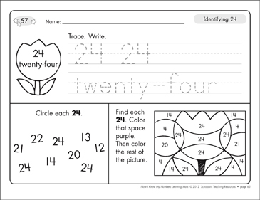 Identifying 24 and Twenty-four/Counting to 24: Number Learning Mats - Printable Worksheet
