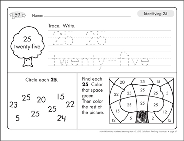 Identifying 25 and Twenty-five/Counting to 25: Number Learning Mats - Printable Worksheet