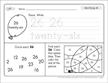 Identifying 26 and Twenty-six/Counting to 26: Number Learning Mats - Printable Worksheet