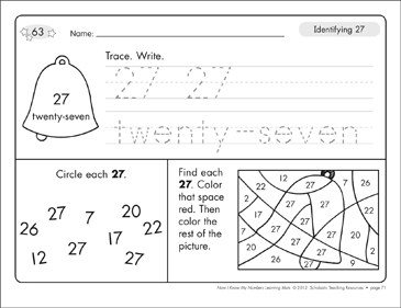 Identifying 27 and Twenty-seven/Counting to 27: Number Learning Mats - Printable Worksheet
