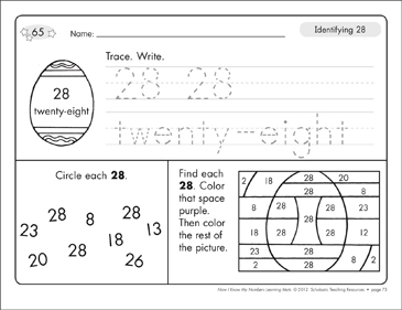 Identifying 28 and Twenty-eight/Counting to 28: Number Learning Mats - Printable Worksheet