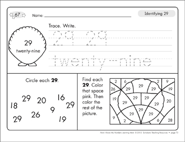 Identifying 29 and Twenty-nine/Counting to 29: Number Learning Mats - Printable Worksheet