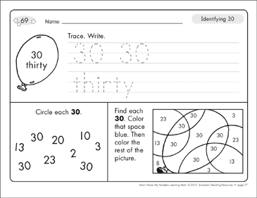 Identifying 30 and Thirty/Counting to 30: Number Learning Mats - Printable Worksheet