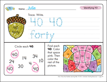 Identifying 40 and Forty/Counting to 40: Number Learning Mats - Printable Worksheet