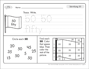 Identifying 50 and Fifty/Counting to 50: Number Learning Mats - Printable Worksheet