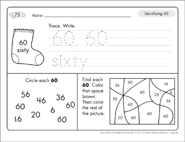 Identifying 60 and Sixty/Counting to 60: Number Learning Mats - Printable Worksheet