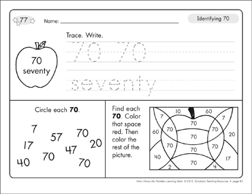 Identifying 70 and Seventy/Counting to 70: Number Learning Mats - Printable Worksheet