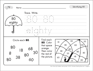 Identifying 80 and Eighty/Counting to 80: Number Learning Mats - Printable Worksheet