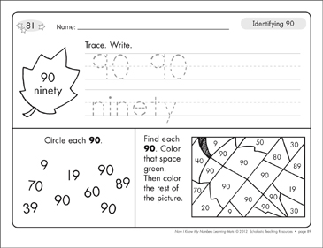 Identifying 90 and Ninety/Counting to 90: Number Learning Mats - Printable Worksheet