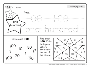 Identifying 100 and One Hundred/Counting to 100: Number Learning Mats - Printable Worksheet