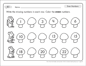 Identifying Even Numbers: Number Learning Mats - Printable Worksheet