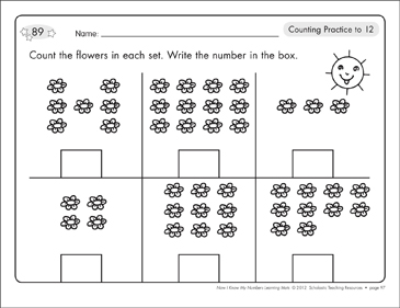 Counting Up to 15: Math Learning Mats - Printable Worksheet
