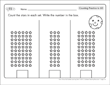 Counting Practice to 60 and to 100: Number Learning Mats - Printable Worksheet
