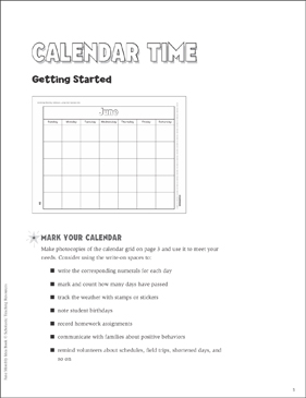 Calendar Time: June Ideas and Activities - Printable Worksheet