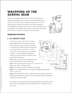 Wrapping Up the School Year: June Ideas and Activities - Printable Worksheet