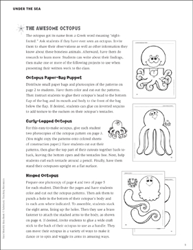 The Awesome Octopus: Projects - Printable Worksheet