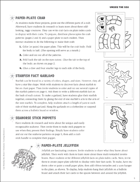 Crabs, Starfish, Seahorses, and Jellyfish Activities - Printable Worksheet