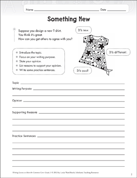 Something New: Grade 3 Opinion Writing Lesson - Printable Worksheet