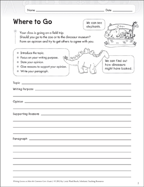 Where to Go: Grade 3 Opinion Writing Lesson - Printable Worksheet