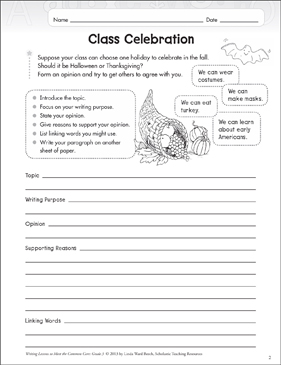 Class Celebration: Grade 3 Opinion Writing Lesson - Printable Worksheet