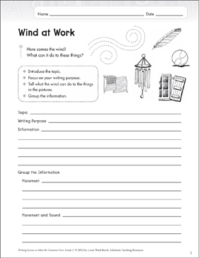 Wind at Work: Grade 3 Informative Writing Lesson - Printable Worksheet