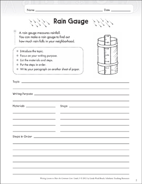 Rain Gauge: Grade 3 Explanatory Writing Lesson - Printable Worksheet