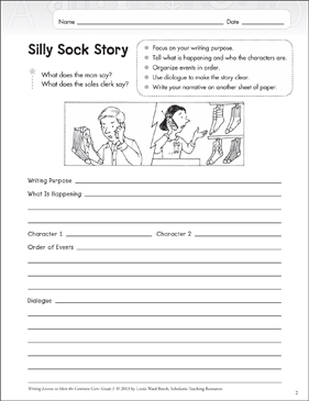 Silly Sock Story: Grade 3 Narrative Writing Lesson - Printable Worksheet