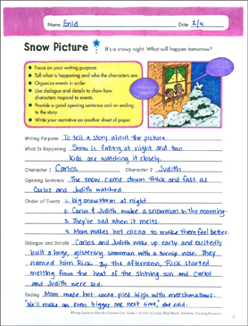 snow picture grade 3 narrative writing lesson printable assessment tools and checklists. Black Bedroom Furniture Sets. Home Design Ideas