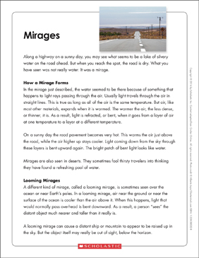 Mirages: Text & Organizer - Printable Worksheet