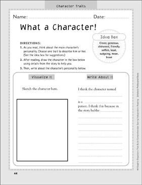 What a Character: Independent Reading Graphic Organizer - Printable Worksheet