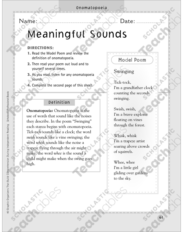 Meaningful Sounds – Onomatopoeia: Independent Reading