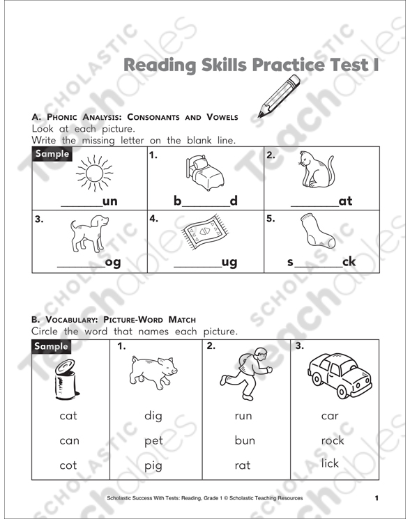 Reading Skills Practice Test 1 Grade 1 Printable Test