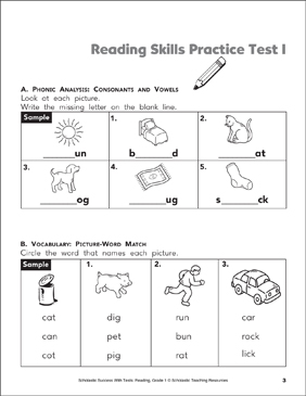 Reading Skills Practice Test 1 (Grade 1) | Printable Test Prep ...
