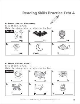 Reading Skills Practice Test 1 (Grade 1)   Printable Test