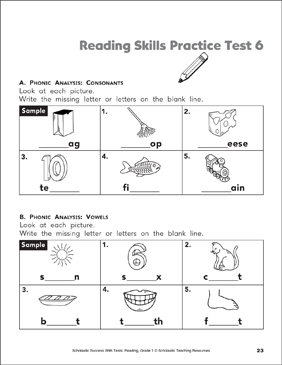 Reading Skills Practice Test 1 (Grade 1) | Printable Test ...