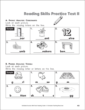 Reading Skills Practice Test 1 (Grade 1) | Printable Test