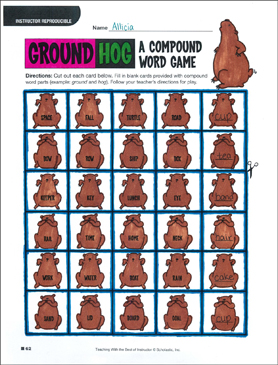 photo relating to Printable Compound Word Games identified as Groundhog (A Material Term Video game) Printable Game titles, Puzzles