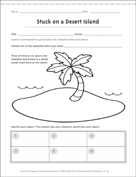 Stuck on a Desert Island: Independent Reading | Printable ...