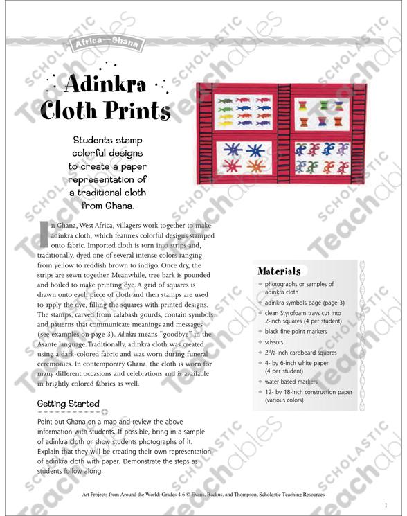 Adinkra Cloth Prints Art Project From Ghana Printable